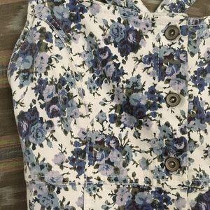 Denim floral button down overall dress!